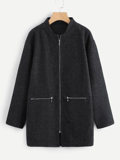 Drop Shoulder Zipper Tweed Coat