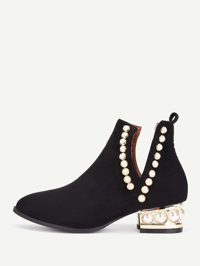 Faux Pearl Block Heeled Ankle Boots
