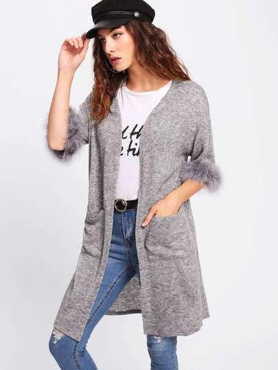 Contrast Faux Fur Cuff Marled Knit Coat