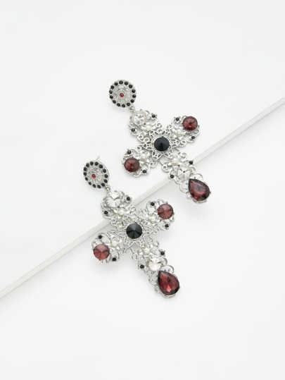 Contrast Rhinestone Cross Design Drop Earrings