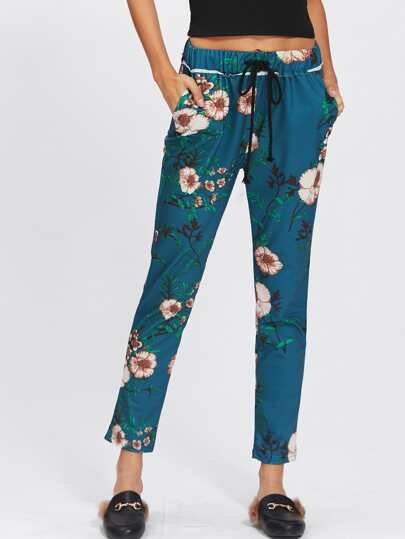 Floral Drawstring Crop Pants
