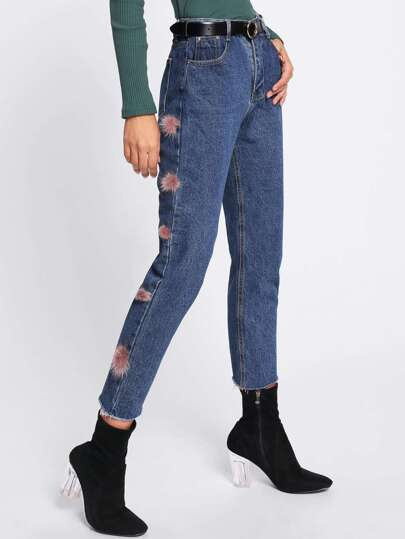 Pom Pom Decoration Jeans