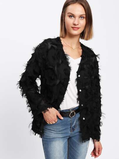Allover Fringe Pearl Buttoned Coat