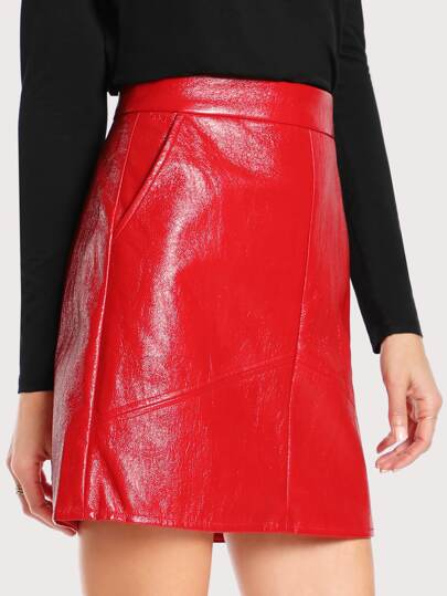 Faux Leather High Rise Skirt RED