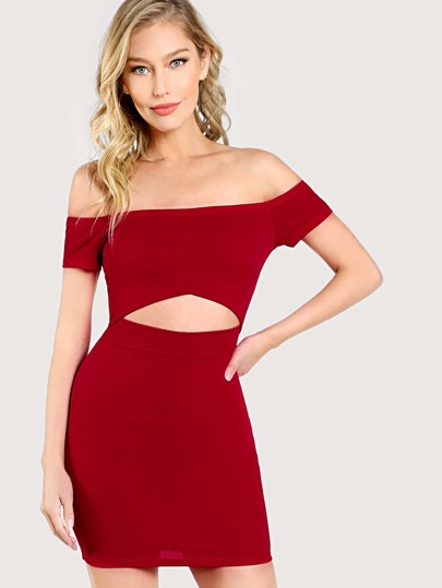 Off Shoulder Cap Sleeve Front Cut Out Dress RED