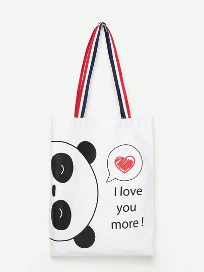 Panda Print Canvas Tote Bag
