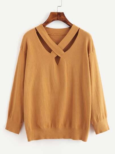 Criss Cross Front Jersey Sweater