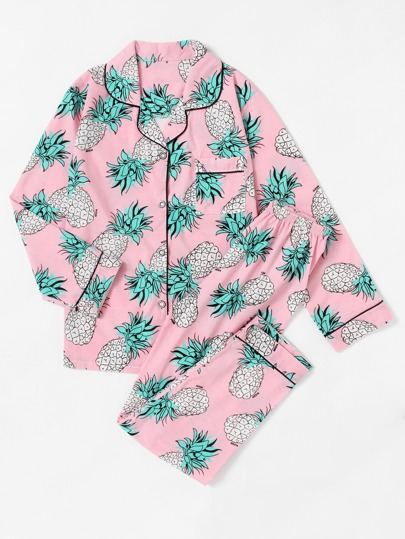 Pineapple Print Contrast Piping Pajama Set