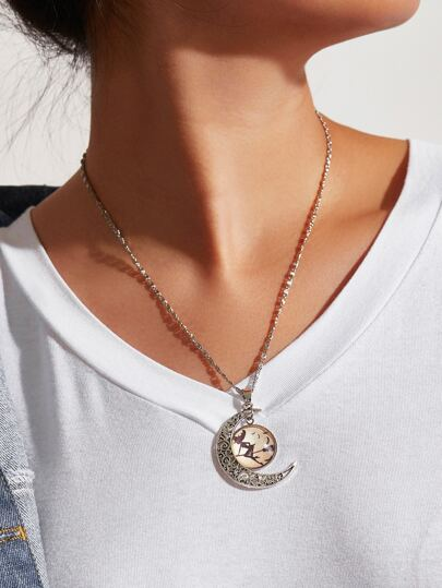 Witch & Moon Design Pendant Necklace