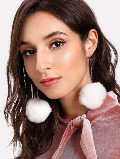 Pom Pom Drop Earrings