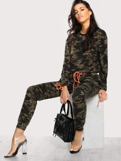 Drawstring Detail Camo Pullover & Sweatpants Set