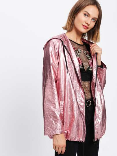Raglan Sleeve Zip Up Metallic Hooded Jacket