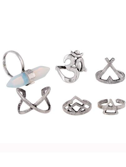 6 piezas de anillo extragrande de cristal