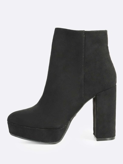 Plain Faux Suede Boots BLACK