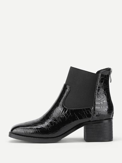 Back Zipper Snakeskin Print Ankle Boots