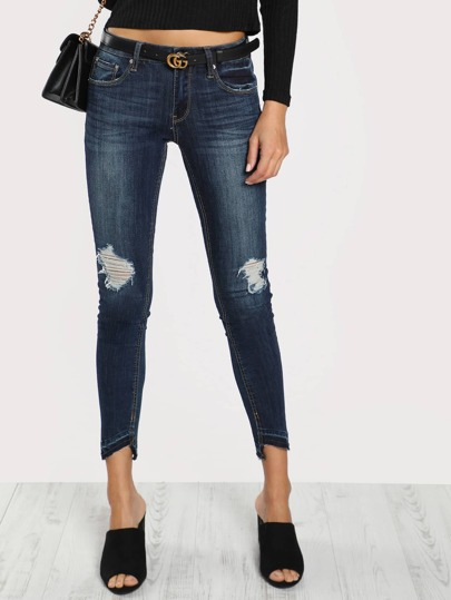 Distressed Side Cut Skinny Pants DENIM
