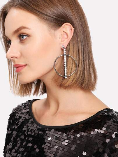 Rhinestone Bar Design Hoop Earrings