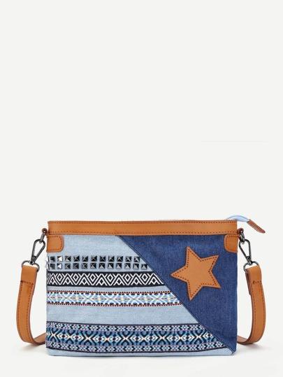 Star Detail Denim Crossbody Bag