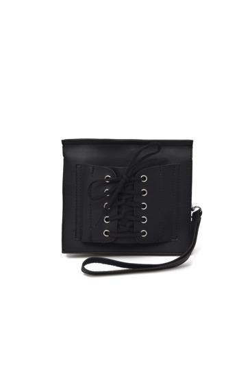حقيبة اليدي بالرباط  اللون الاسود