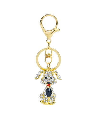 Rhinestone Dog Design Keychain