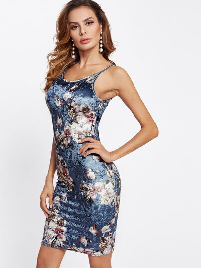 Floral Crushed Velvet Form Fitting Dress