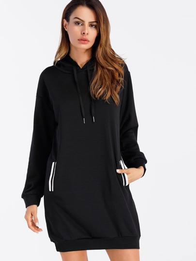 Hoodie Kleid mit Streifen und Band Detail