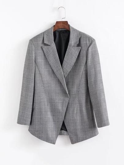 Slit Back Tailored Houndstooth Blazer