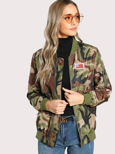 Patch Detail Camo Bomber Jacket