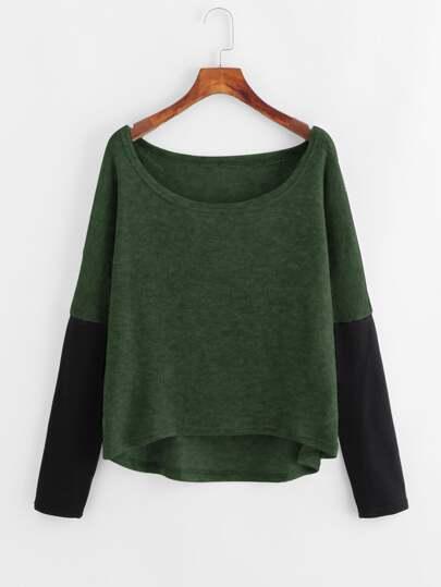 Contrast Sleeve Dip Hem Sweater