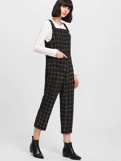 Buttoned Strap Pocket Patched Plaid Jumpsuit