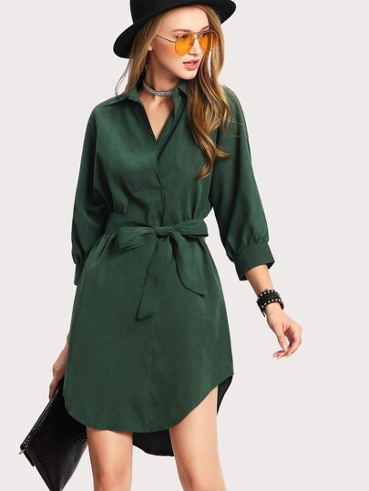 High Low Curved Hem Shirt Dress