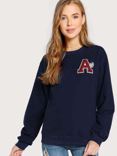 Letter Flocking Patch Detail Sweatshirt