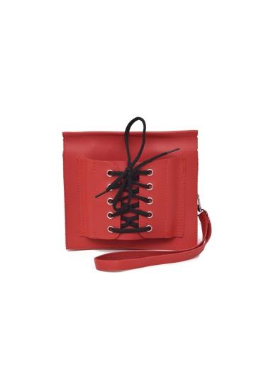 حقيبة اليدي بالرباط اللون الاحمر
