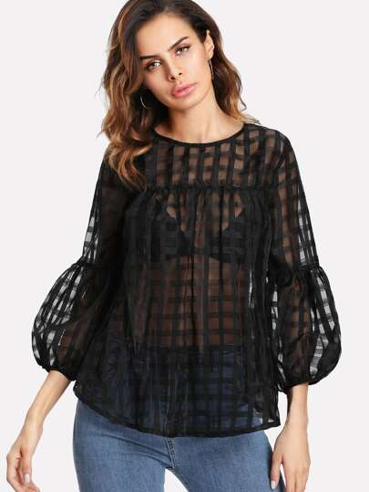 Lantern Sleeve Grid Mesh Smock Top
