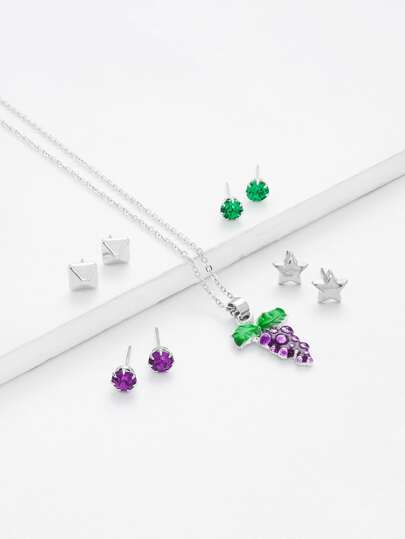 Grape Pendant Necklace & Stud Earring Set