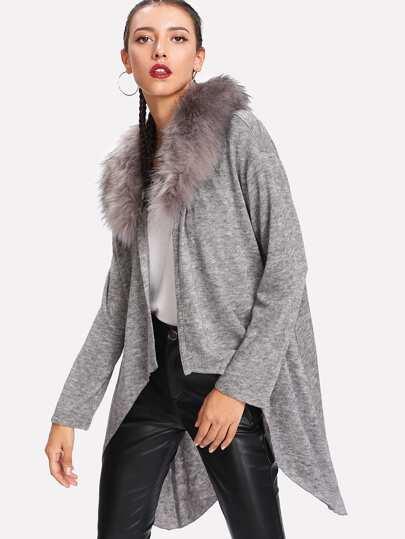 Detachable Faux Fur Collar High Low Cardigan