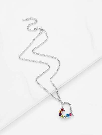 Collar de cadena colgante con diseño de flor y diamante de imitación