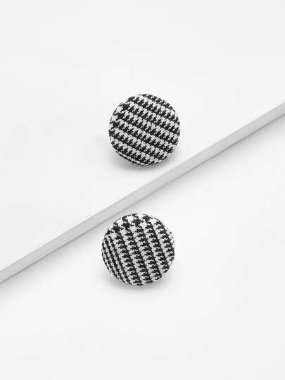 Houndstooth Design Stud Earrings