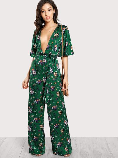 Plunge Neck Self Belted Palazzo Jumpsuit