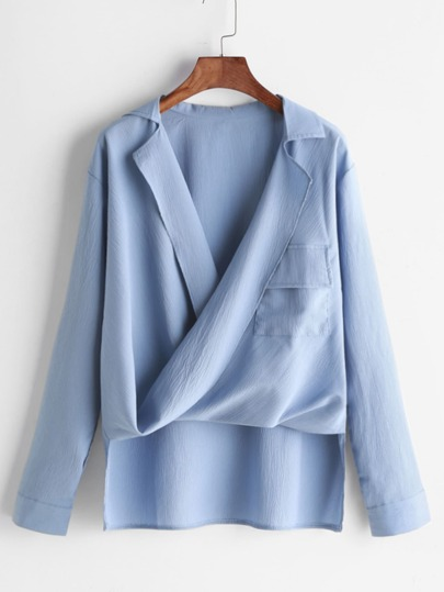 Mousseline de soie blouse drapée devant asymétrique - Bleu