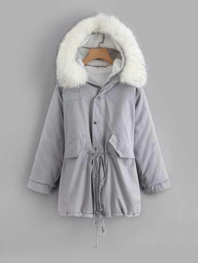 Faux Fur Trim Drawstring Waist Coat