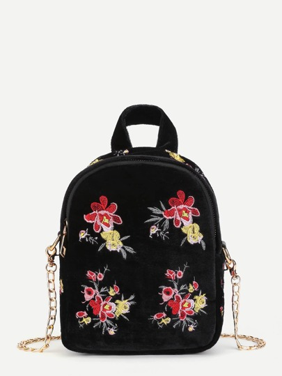 Calico Embroidery Backpack With Convertible Strap