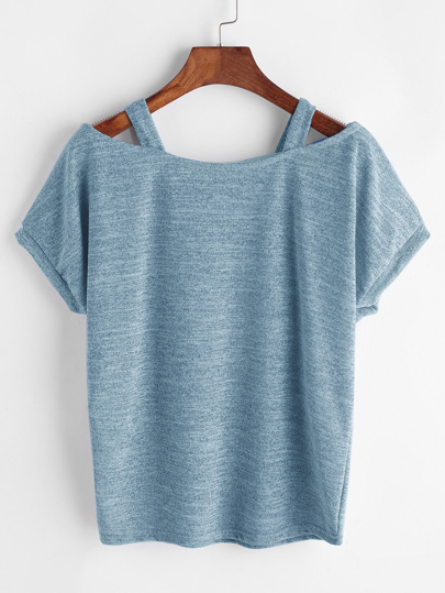 Open Shoulder Marled Knit Tee