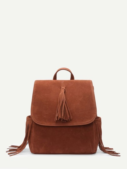 Tassel Detail Flap Backpack