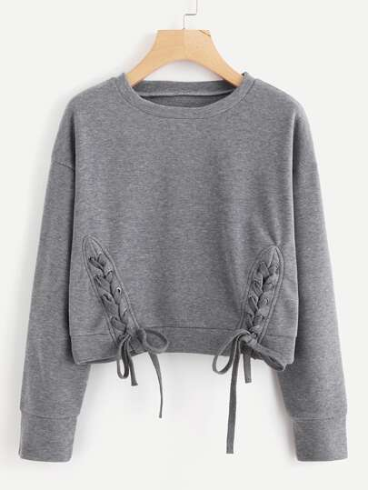 Lace Up Detail Marled Pullover