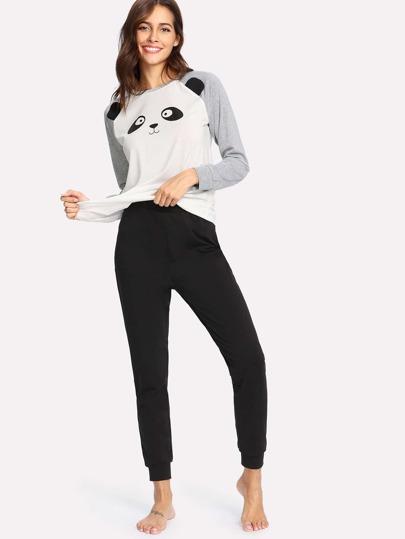 Raglan Sleeve Panda Print Pullover & Sweatpants PJ Set
