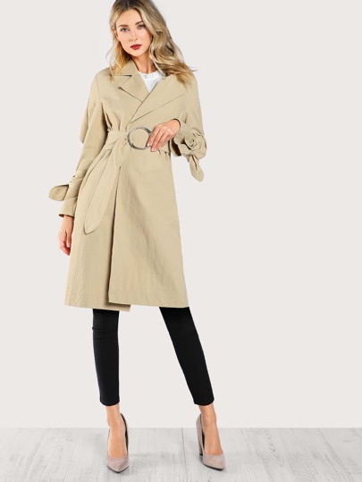 Belted Long Sleeve Longline Trench Coat BEIGE