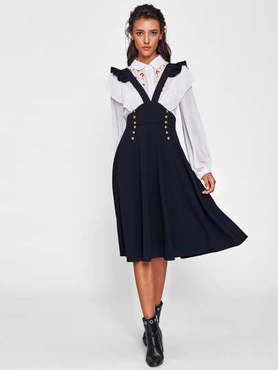 Ruffle Strap Double Breasted Pinafore Skirt