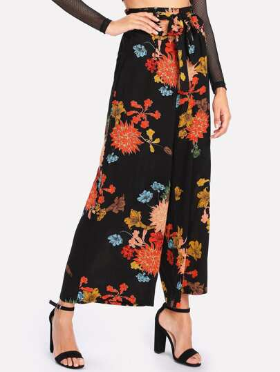Frilled Waist Floral Wide Leg Pants