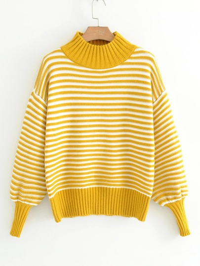 Lantern Sleeve Striped Sweater